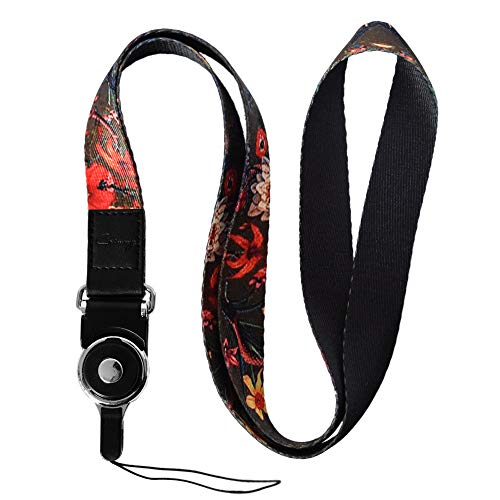 Crimmy Detachable Cell Phone Neck Lanyard, Universal, Double Sided Neck Strap Band Lanyards for Camera, Cell Phone, iPod, USB, Flash Drive (Black Flower) (Best Harley For Big Guys)