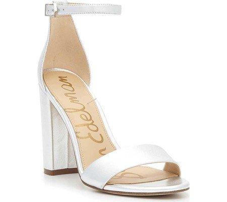 Sam Edelman Women's Yaro Heeled Sandal, Soft Silver/Metallic Leather, 7.5 W US (Soft Leather Footwear Gold)