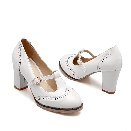 Amoonyfashion Mujer Round Round Closed Toe High Heels Solid Hebilla Bombas-zapatos Blanco