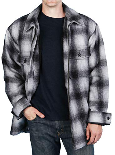 Woodland Supply Co. Men's Wool Blend Sherpa Fleece Lined Zip-Up Jacket (Large, Black Ombre Plaid)