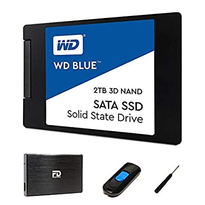 """WD 2TB SSD Upgrade Kit by Fantom Drives - Includes 2TB Western Digital Blue SSD, 2.5"""" Hard Drive Enclosure, and Drive Cloner Software in a USB Drive - Great for Gaming PC, Gaming Laptops, and MacBook"""