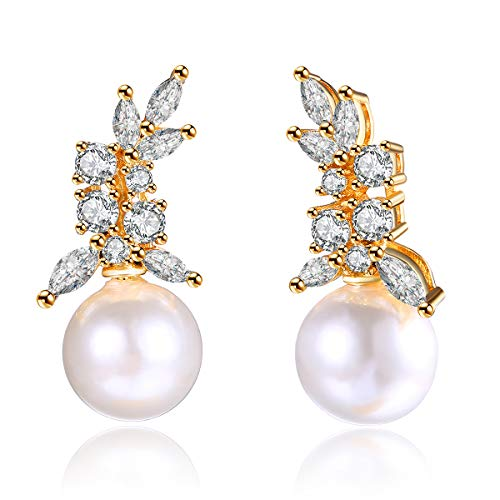 White Simulated Shell Pearl Drop Earrings For Women Girls, Champagne Gold Plated CZ Cluster Wedding Bridal Studs Jewelry Hypoallergenic