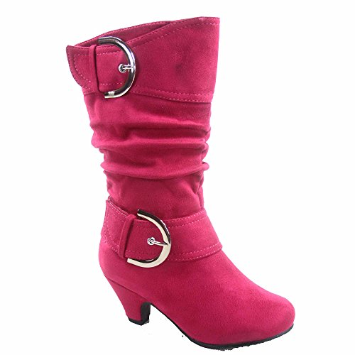 Image of Lucky Top Auto-8k Girl's Youth Fashion Round Toe Low Heel Slouch Buckle Zipper Boots Shoes