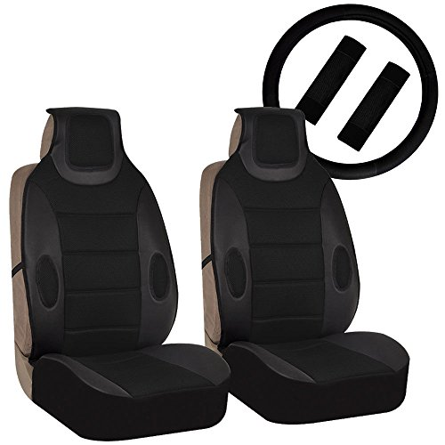 - FH Group FH-FB202102 Pair set Leatherette Seat Cushion Pads with Fabric 3D Airmesh with Steering Wheel and Seat Belt Pads, Solid Black
