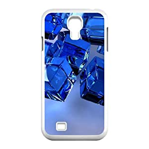 Okaycosama Falling 3d Blue Cubes Samsung Galaxy S4 Case for Teen Girls Protective, Phone Case for Samsung Galaxy S4 Mini [White]