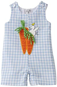 Baby Boys Easter Oufit - Bunny and Carrot Blue Shortall