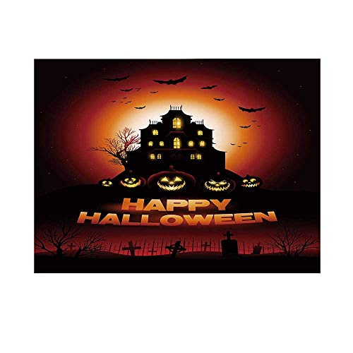 Halloween Photography Background,Happy Halloween Haunted House Flying Bats Scary Looking Pumpkins Cemetery Decorative Backdrop for Studio,10x6ft