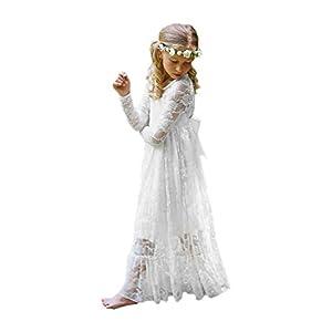 Carat Fancy Ivory White Lace Boho Rustic Flower Girl Dress 2-12 Year Old