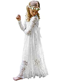 Fancy Ivory White Lace Boho Rustic Flower Girl Dress 2-12 Year Old