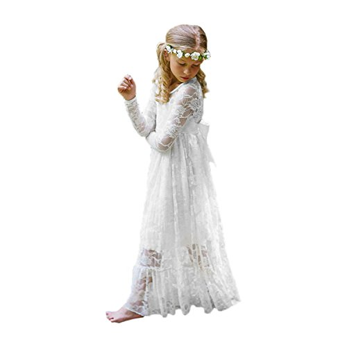 Fancy Ivory White Lace Flower Girl Dress Boho Rustic First Communion Gowns(Size 6,White)