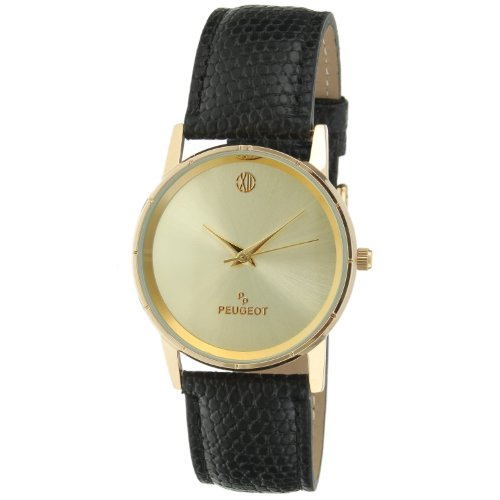 Peugeot Men's 'Professional' Quartz Metal and Leather Dress Watch, Color:Black (Model: 2043CH) (14k Gold Watch Leather Strap)