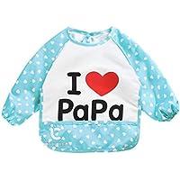 ICYCHEER Baby Bibs Toddler Bib Waterproof Long Sleeved Bib with Sleeves & Pocket Easily Wiped Clean (Blue)