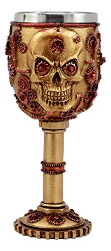 Ebros Gift Golden Age Steampunk Mechanical Gearwork Skull Face Wine Goblet Drink Chalice Cup Figurine 6oz