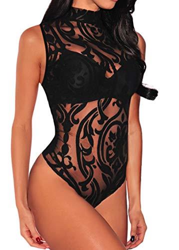 BarbedRose Women Sexy Black Sheer Mesh Print Sleeveless Bodysuit Clubwear,Black,S