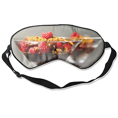 Berry Dessert - 100% Silk Sleep Mask for Women & Men, Eye Mask for Sleeping with Adjustable Strap, Blindfold, Chocolate Dessert Berries Raspberry Biscuit