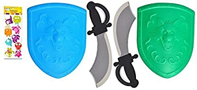 2 SETS Foam Play Costume Pirate Knight Cutlass Cosplay Shield and Sword Unique Gift for Boys Kids Toddlers