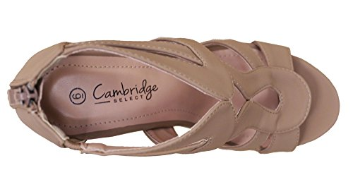 Cambridge Select Women Open Teen Strappy Platform Sleehak Sandaal Taupe