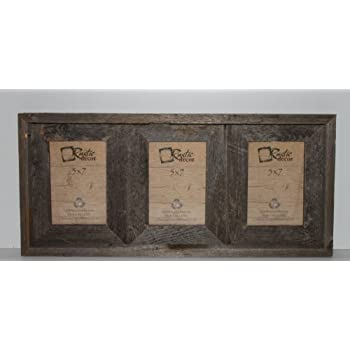 5x7 25 wide reclaimed rustic barnwood collage photo frame holds 3 photos