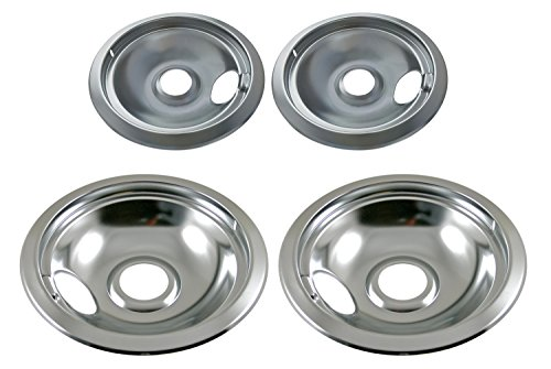 "Price comparison product image Chrome Drip Pan Set Replacement for Frigidaire Kenmore 316048413 and 316048414: 2 ea 6"" and 8"""