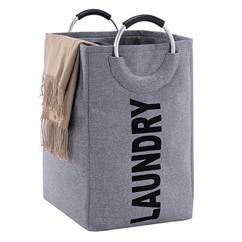 YOUDENOVA Double Laundry Hamper with Handle, Large Collapsible Dirty Clothes Basket for Washing Storage, Foldable Clothes Bag for Toys and Clothes Organization – Grey