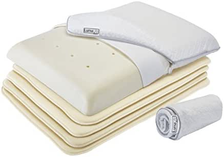 LumaLife Luxe Thin Firm Memory Foam Pillow, Adjust Height from 1/2 Inch Ultra Thin to 4½ Inches Thick, Use 4 Slim Memory Foam Thinserts to Adjust Loft or Change Pillow Contour