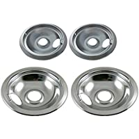 "Chrome Drip Pan Set Replacement for Frigidaire Kenmore 316048413 and 316048414: 2 ea 6"" and 8'"
