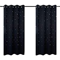 2 Panels BUZIO Twinkle Star Kids Room Curtains with 2...