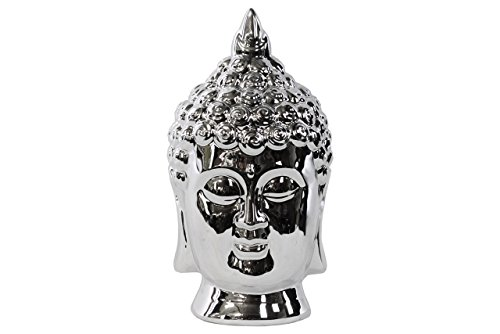 Urban Trends Porcelain Buddha Head with Pointed Ushnisha, Polished Chrome Silver by Urban Trends