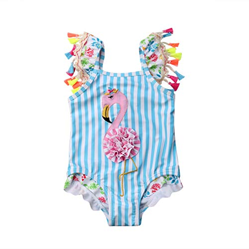 Kids Toddler Baby Girl One Piece Swimsuit Beach Wear Striped Flamingo Tassels Swimwear Bathing Suits 4-5 Years Blue/Pink