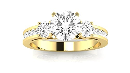 14K Yellow Gold 1.61 CTW Channel Set 3 Three Stone Diamond Engagement Ring w/ 1.01 Ct GIA Certified Round Cut F Color VS2 Clarity - 3 Ring 40 Stone Round