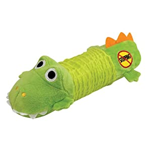 Stuffing Free Squeaking Plush Dog Toy, Big Squeak Gator by Petstages