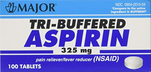 Tri Buffered Aspirin Tablets Generic for Bufferin 325 mg 100 Tablets per Bottle Pack of 2 Total 200 Tablets