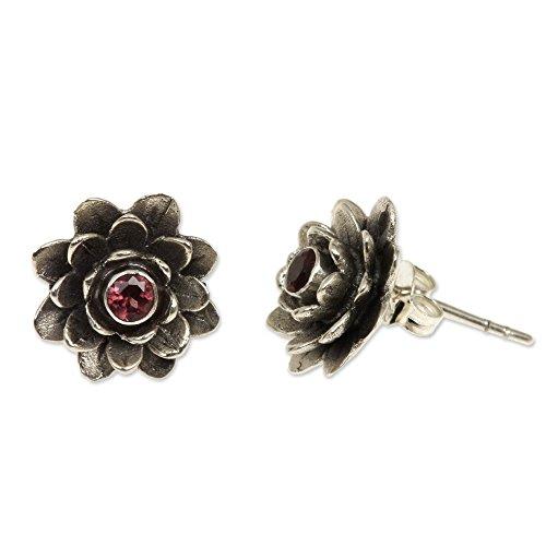 NOVICA Garnet .925 Sterling Silver Flower Button Earrings Red-Eyed Lotus