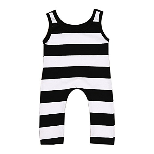 Faithtur Toddler Unisex Baby Boys Girls Clothes Sleeveless Striped Romper Jumpsuit Playsuit