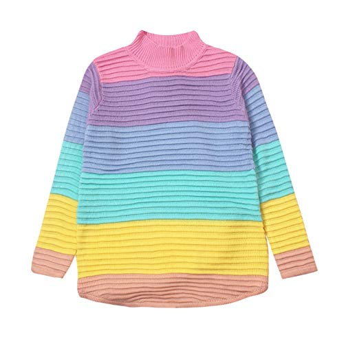 JOFOW Women Striped Turtleneck Sweater,Colorful Striped Block Patchwork Knitwear Casual Knitted Tops Pullover