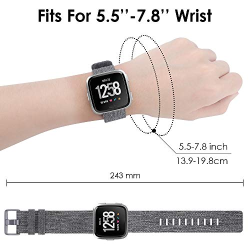 QIBOX-Bands-Compatible-with-Versa-Woven-Fabric-Wrist-Strap-Watch-Special-Edition-Replacement-Bands-Classic-Square-Stainless-Steel-Buckle-Compatible-with-Versa-Smart-Watch