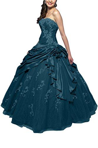 Klassisch Dunkelblau Gorgeous A Linie Bride Ballon Lang Tuell Taft Abendkleid Ballkleid Traegerlos ACTTpwq56