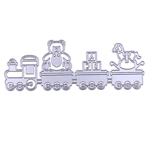 (GUINV Cutting Dies Train Metal Cutting Dies Stencil for DIY Scrapbooking Embossing Paper Card)