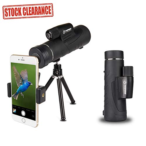 Monocular Telescope 10X42 High-Definition BAK4 Multi-Coated Prism With BONUS Tripod & Mount for Phones - Perfect for Adults, Hunting, Bird Watching, Wildlife, Travelling