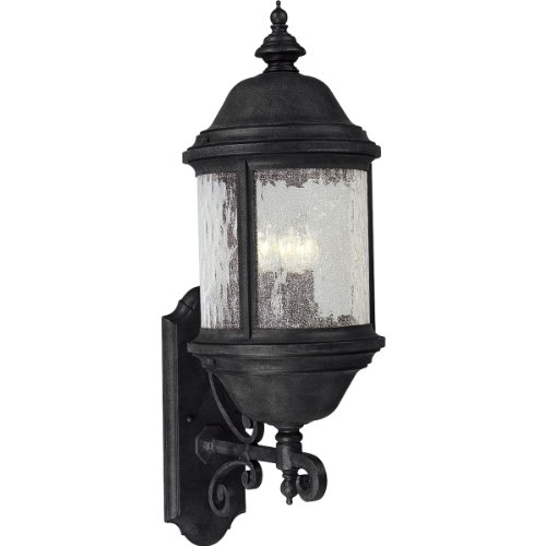 Progress Lighting P5653-31 3-Light Ashmore Cast Aluminum Wall Lantern, Textured Black
