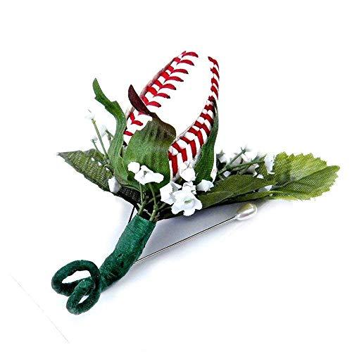 Baseball Rose Boutonniere with Gift Box -