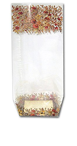 Fall Festival / Thanksgiving Gusseted Treat Bags with Autumn Leaves and Flowers - 25 Count (Fall Treats)