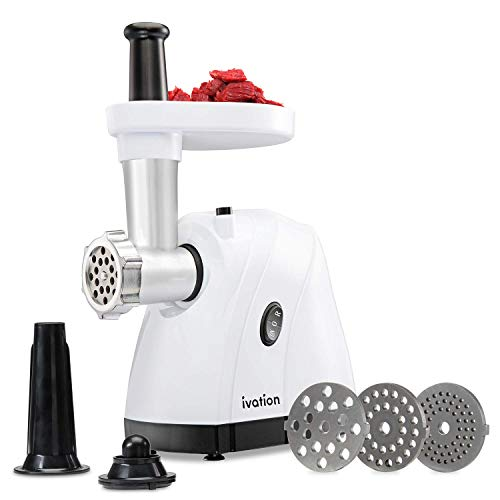 Ivation 1hp Compact-Power Electric Meat Grinder Mincer & Sausage Stuffer, Upgraded Metal Gear System, 5pc Accessory Kit - 600w of Power Easily Grinds Meat & Chicken for Home Use