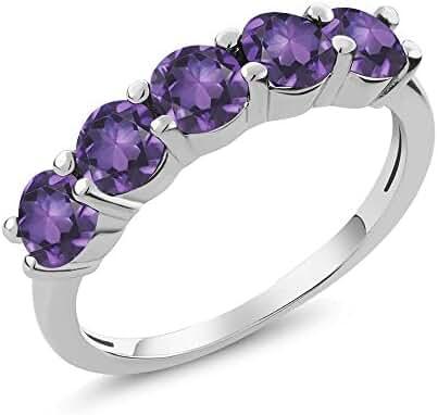 1.75 Ct Round 5-Stone Natural Purple Amethyst 925 Sterling Silver Gemstone Birthstone Women's Ring