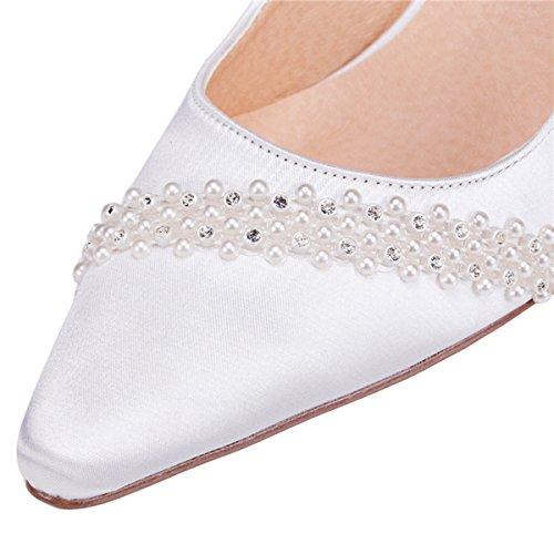Kevin Fashion zms1514señoras satén de tacón de novia boda fiesta noche Prom zapatos de bombas blanco