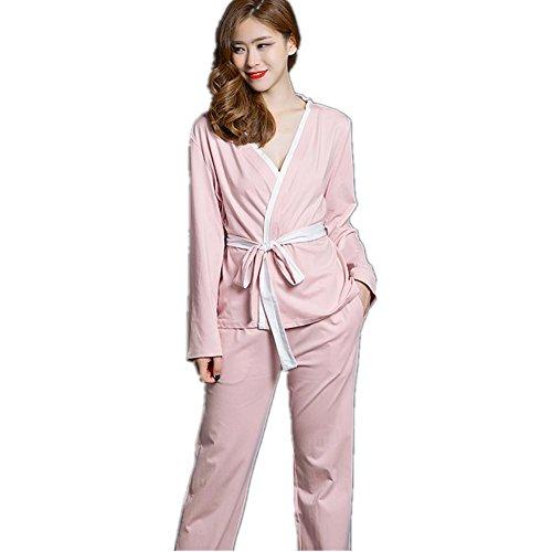 DMMSS De Mujeres Primavera Y Otoño Pijamas Juego Largo Manga Camiseta Albornoz 2 - Pieza De Simple Ambiente Inicio Conjunto De