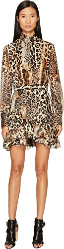 Just Cavalli Women's Long Sleeve Mixed Animal Print Dress Natural Veg Tanned Full Grain 46 (US 8)