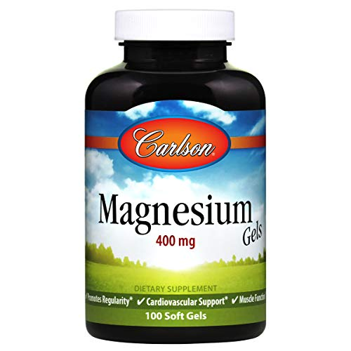 Carlson - Magnesium Gels, 400 mg, Heart & Muscle Support, Bowel Function, 100 soft gels (Best Magnesium For Heart Health)