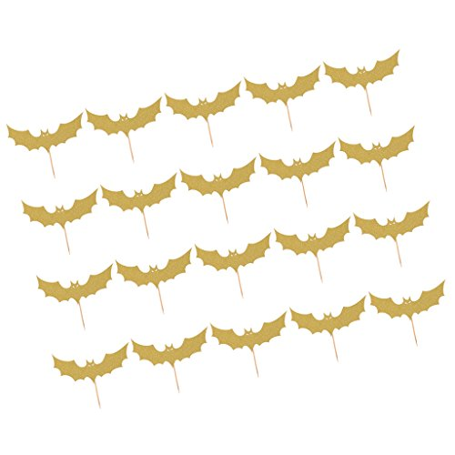Jili Online 20pcs Holiday Paper Halloween Paper Bats Design Cupcake Picks Cake Toppers Canape Food Sticks Party Baking Accessories - Gold