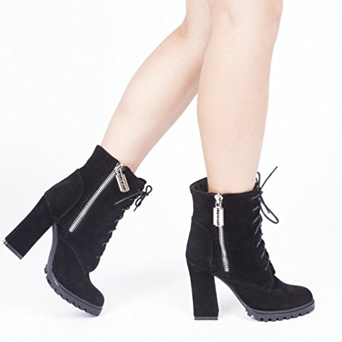 up Double Suede Heels AIWEIYi Shoes Lace High Ankle Pump Platform Boots Chunky Womens Zipper Black HFwcHy5q8E